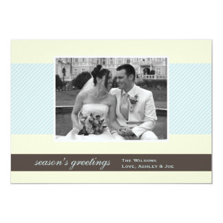 Noël frais de vacances de photo d'ecru de rayures carton d'invitation  12,7 cm x 17,78 cm