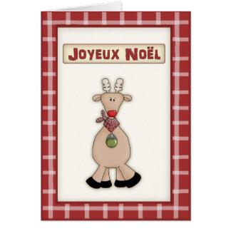 Noël français Rudolf la carte rouge de renne de