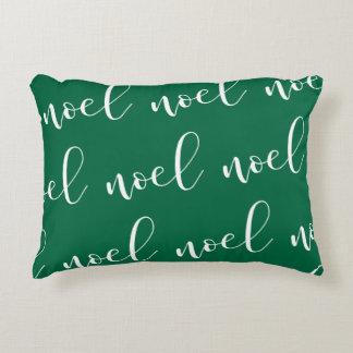 Noel | Green Christmas Script Decorative Pillow