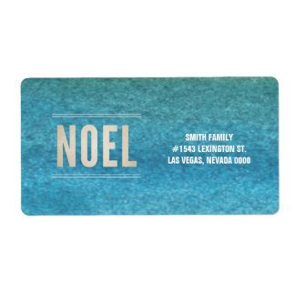 NOEL & Hand painted watercolor label Shipping Label