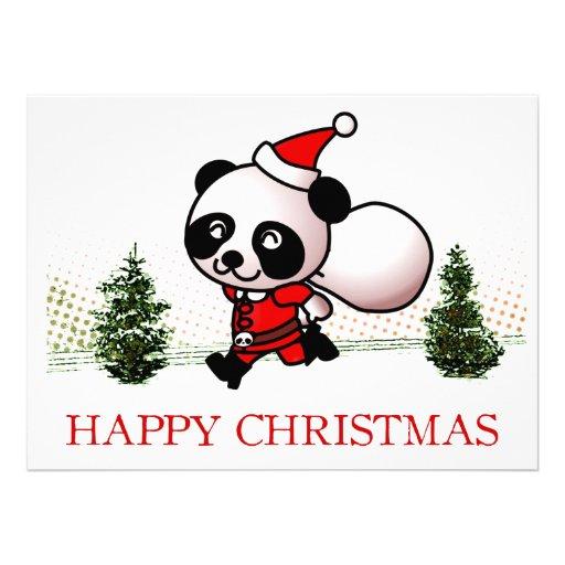 Noël heureux de panda mignon invitations personnalisées