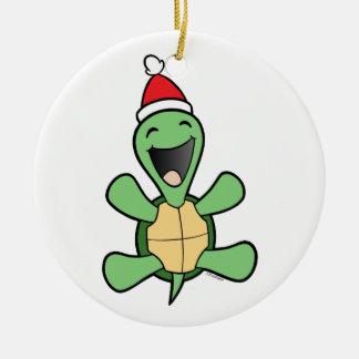 Noël heureux de tortue ornement rond en céramique