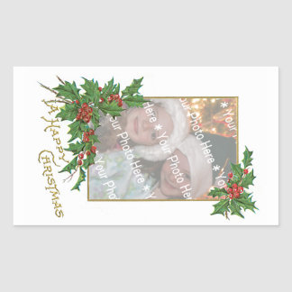 Noël heureux vintage d'Ajouter-UN-Photo Sticker En Rectangle