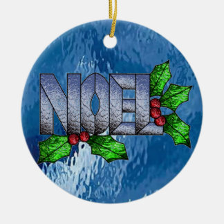 Noel in Stained Glass Ceramic Ornament