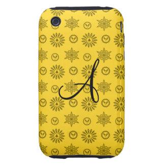 Noël jaune de monogramme tient le premier rôle des étui tough iPhone 3