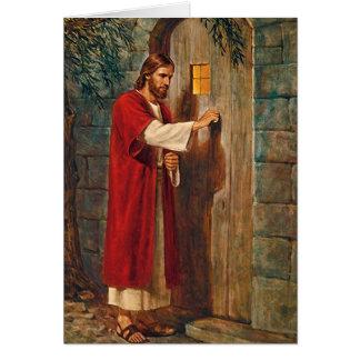 Noël Jésus frappe sur la porte Carte De Vœux