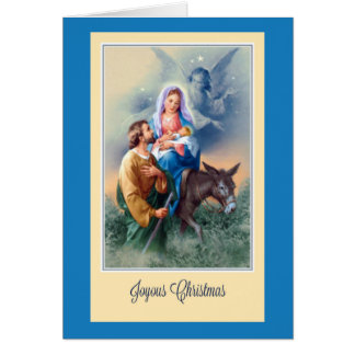Noël, Jésus, Mary, Joseph, âne, anges Carte De Vœux