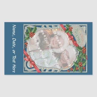 Noël joyeux vintage de Noël d'Ajouter-UN-Photo Sticker En Rectangle