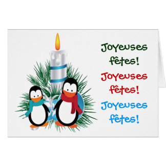 Noël manchots et bougie cartes greeting card
