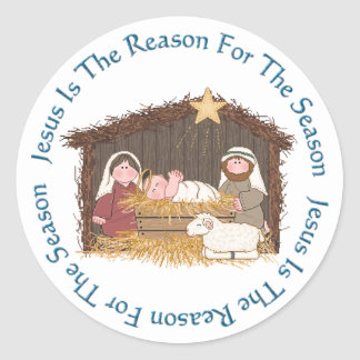Noël Manger/raison de Jésus Sticker Rond