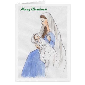 Noël Mary et bébé Jésus Carte De Vœux