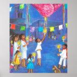 Noël mexicain, enfants et pinatas posters