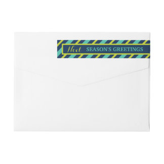 {Noel} Navy, Teal & Lime Season's Greetings Custom Wraparound Return Address Label