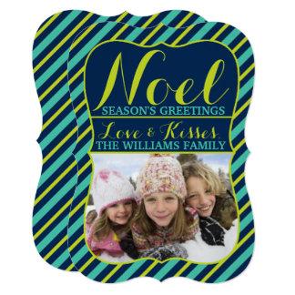 {Noel} Navy, Teal & Lime Season's Greetings Photo Card