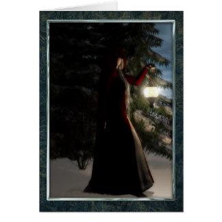Noël par la lumière d'hivers carte de vœux