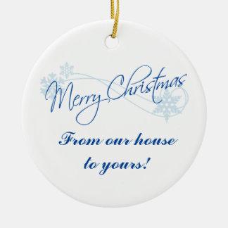 Noël personnalisé de notre Chambre au vôtre Ornement Rond En Céramique