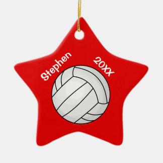Noël personnalisé rouge de joueur de volleyball ornement étoile en céramique