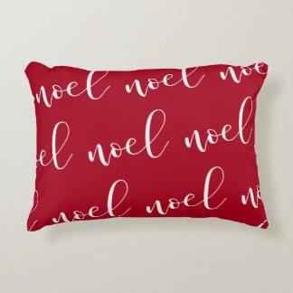 Noel | Red Christmas Script Decorative Pillow