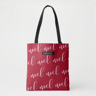 Noel | Red Christmas Script with your Name Tote Bag