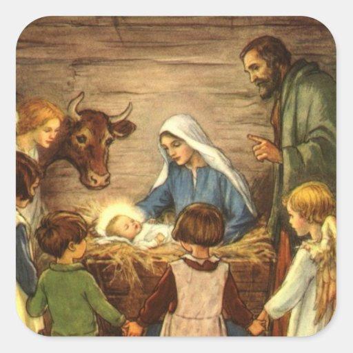 Noël religieux vintage, nativité, bébé Jésus Sticker Carré