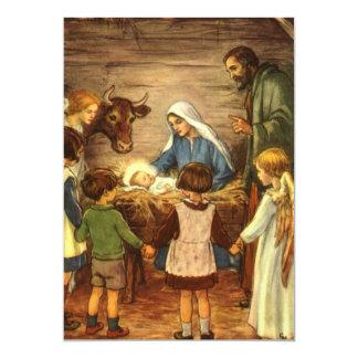 Noël religieux vintage, nativité, bébé Jésus Faire-part