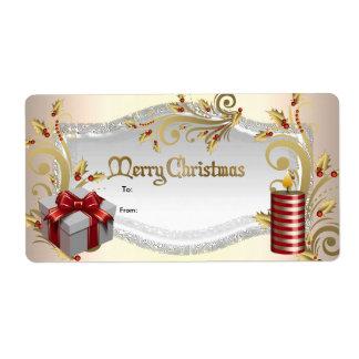 Noël rouge de blanc d'étiquette de cadeau de Noël Étiquettes D'expédition
