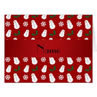 Noël rouge nommé personnalisé de bonhomme de neige carte de vœux