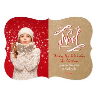 "Noel Rustic Vintage Holiday Photo Card 5"" X 7"" Invitation Card"