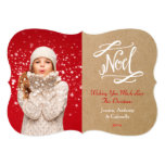 Noel Rustic Vintage Holiday Photo Card Personalized Announcement