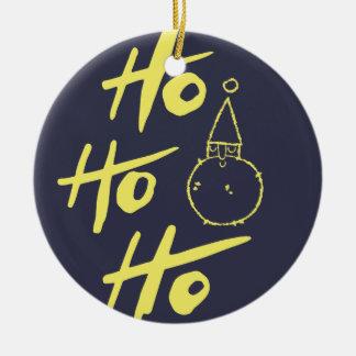 """Noel Santa Claus """"ho ho ho"""" (black) - Xmas gifts Round Ceramic Ornament"""