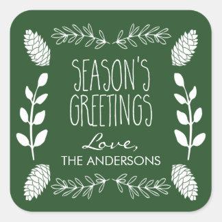 Noël vert rustique de Bonnes Fêtes Sticker Carré