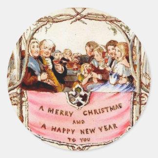Noël victorien sticker rond