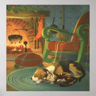 Noël vintage, animaux de sommeil par la cheminée poster