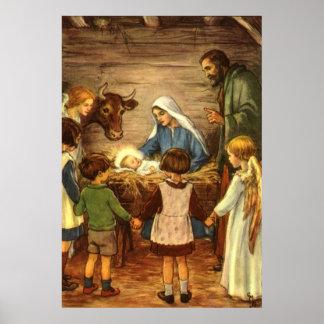 Noël vintage, bébé religieux Jésus de la nativité Poster