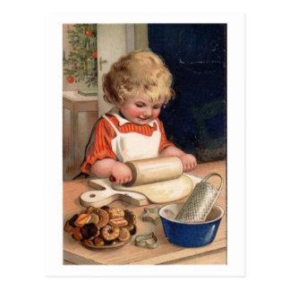Noël vintage - biscuits de cuisson de fille carte postale