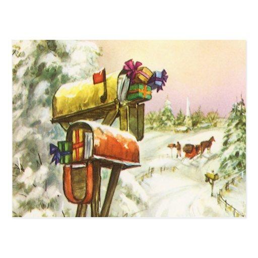 Noël vintage, boîtes aux lettres dans le paysage carte postale