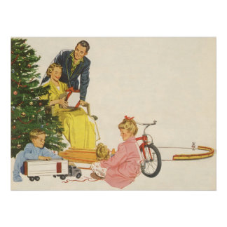 Noël vintage cadeaux d ouverture de famille poster