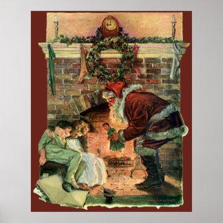 Noël vintage cheminée victorienne du père noël posters