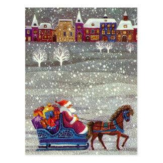 Noël vintage, cheval Sleigh ouvert du père noël Carte Postale