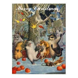 Noël vintage dans la carte postale en bois