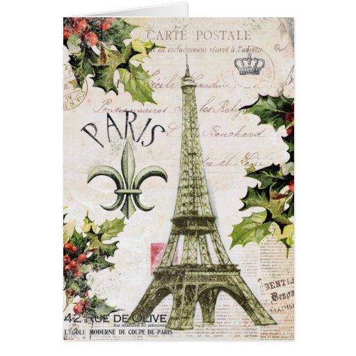 Noël vintage dans le carte pour notes de Paris
