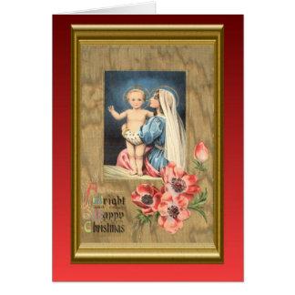 Noël vintage de reproduction, Mary et bébé Jésus Carte De Vœux