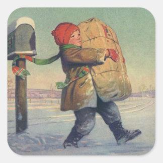 Noël vintage, enfant avec le paquet autocollant carré