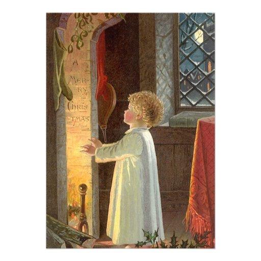 Noël vintage, enfant chauffant par la cheminée carton d'invitation