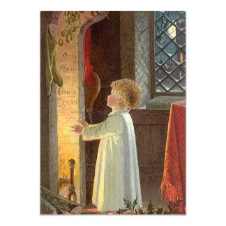 Noël vintage, enfant chauffant par la cheminée carton d'invitation  12,7 cm x 17,78 cm