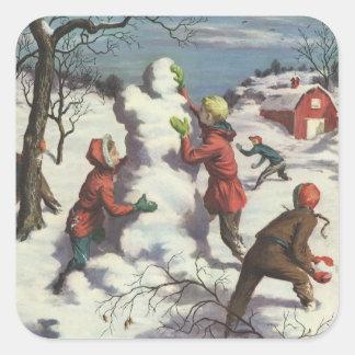 Noël vintage, enfants jouant dans la neige stickers carrés
