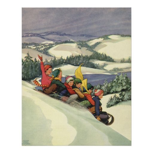 Noël vintage, enfants Sledding sur une montagne