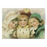 Noël vintage, filles victoriennes, enfants carte de vœux