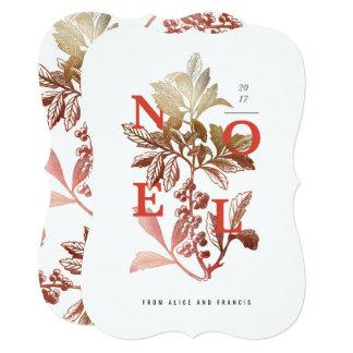 Noel Vintage Floral Holiday Card Red