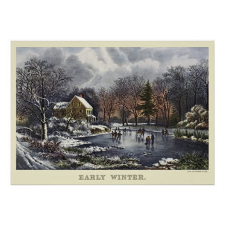 Noël vintage ; Hiver tôt avec des patineurs de gla Affiche
